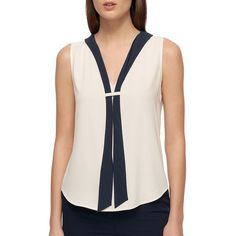 Tommy Hilfiger Women's Sleeveless Top with Necktie ($59) ❤ liked on Polyvore featuring tops, ivory, v neck sleeveless top, v neck tank, v neck tank top, ivory necktie and sleeveless tank