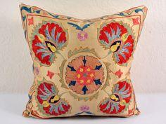 Vintage suzani pillows tribal hand embroidered
