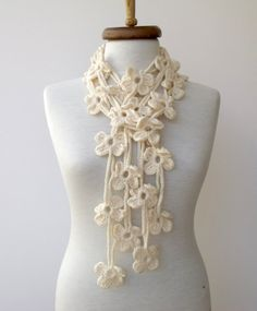 Cream Double Bloom ScarfReady for shipping by knittingshop on Etsy, $25.00