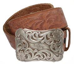 Xanthe Women's Western Belt Buckle Full Grain Leather Belt $24.95