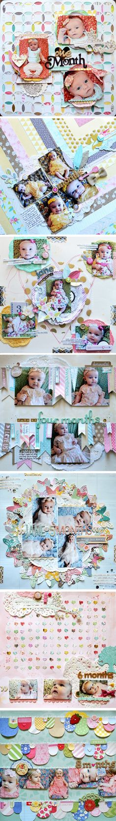 How @Paige Hereford Hereford Hereford Evans scrapbooks her monthly baby photos + milestones.