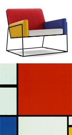 """Today on the blog: HL design inspired by works of art. Featured: Charles chair from #Moooi and """"Composition II in Red, Blue, and Yellow"""" by Piet Mondrian #armchair #art #inspo #ontheblog #hauteliving #chicago"""