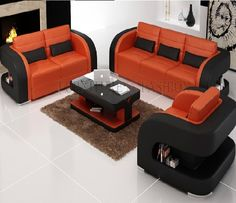 Are you searching for a work of art that brings cheerfulness to your #home? Check the details of this #Tetris 3 piece leather suite that comes with black and orange shades #leather structure.
