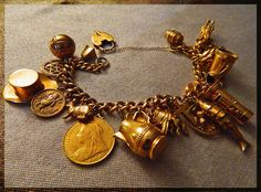 Solid Gold Victorian Charm Bracelet Circa Late 1800