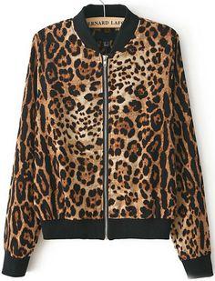 Leopard Stand Collar Long Sleeve Zipper Jacket - Sheinside.com