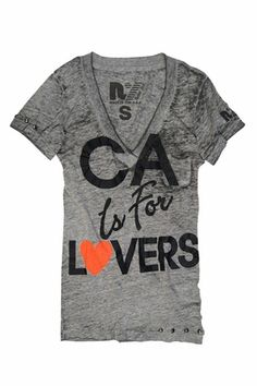 Rebel Yell CA Lovers V-Neck Tee in Heather Gray