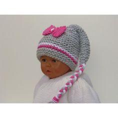 Bonnet bébé lutin de couleur gris avec une petite rayure de rose et une  autre de b9d75240488