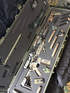 My wife has her cosmetic case. I have my gun case! Ninja Weapons, Weapons Guns, Airsoft Guns, Guns And Ammo, Zombie Weapons, Weapon Storage, Gun Storage, Armas Airsoft, Armas Ninja