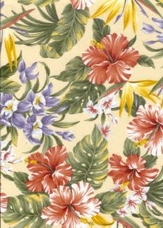 Vintage Botanical Hawaiian fabric with flowers from BarkclothHawaii.com
