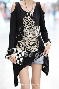Stylish Scoop Neck Long Sleeve Butterfly Pattern Asymmetrical Women's T-Shirt