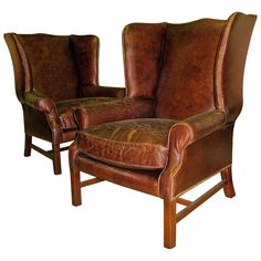 For Sale on - Two handsome George III style wingback chairs with nailhead and distressed leather. Nice deep wingback enclosure and leather has a lovely distressed finish Leather Bean Bag Chair, Leather Wingback Chair, Leather Club Chairs, Chair And Ottoman, Armchair, Wingback Chairs, Overstuffed Chairs, Leather Ottoman, Upholstered Chairs