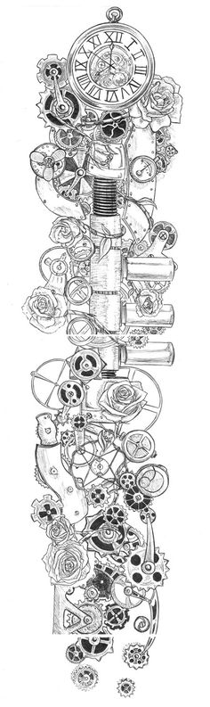 Steampunk Rose tattoo - an interesting idea for a sleeve