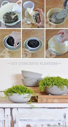 Como hacer macetas de cemento, concreto u hormigón Cement Art, Concrete Crafts, Concrete Projects, Concrete Design, Concrete Furniture, Urban Furniture, Diy Concrete Planters, Diy Planters, Garden Planters