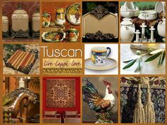 Shades of golden amber are perfect Tuscan decorating