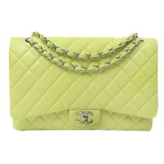 Pre-Owned Chanel Lambskin Classic Maxi Double Flap Shoulder Bag ($3,999) ❤ liked on Polyvore featuring bags, handbags, shoulder bags, green, chanel, zip purse, yellow shoulder bag, yellow purse and green handbags