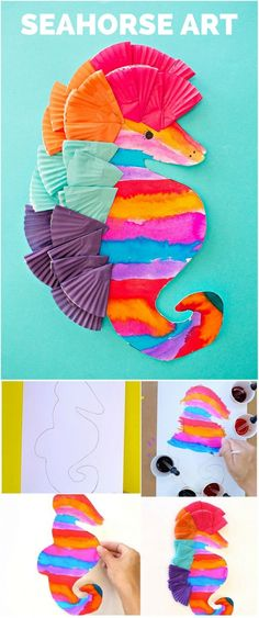 Colorful Watercolor Seahorse Art for Kids. Cute ocean craft.