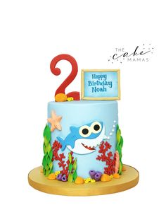 Call or email to order to your customized birthd… Shark Themed birthday cake! Call or email to order to your customized birthday cake today! 2nd Birthday Cake Boy, Shark Birthday Cakes, Boy Birthday Parties, Birthday Ideas, Hai, Baby Shark, Motto, Creations, Shark Cake