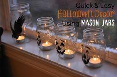 Quick & Easy Halloween Decor Using Mason Jars @yourhomebasedmom.com