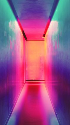 Hallway of neon lights