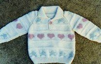 Baby-Toddler Hearts Sweater in Crystal Palace Yarns Merino 5 Solids