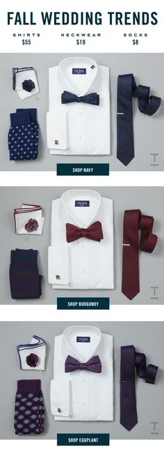 The Biggest Selection Of Fall Wedding Accessories Featuring Every Major Color Of The Season. Find Your Color At www.TheTieBar.com