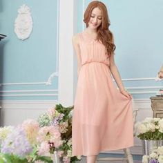 Buy 'Tokyo Fashion – Sleeveless Gathered-Waist Chiffon Maxi Dress' with Free International Shipping at YesStyle.com. Browse and shop for thousands of Asian fashion items from Taiwan and more!... almost every color looks good