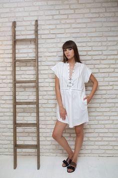 White Oversize Caftan Dress Bohemian Kaftan Loose Dress