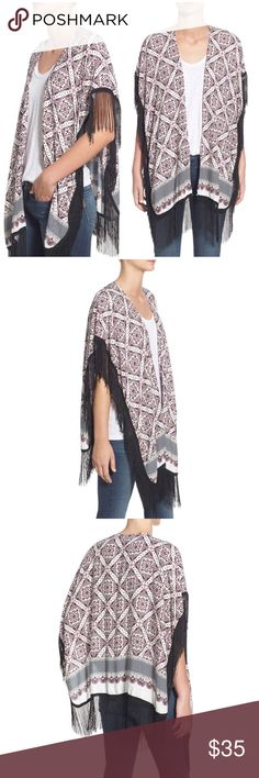 """Roffe Medallion Print Fringe Kimono Brand new with tags! Roffe Accessories Medallion Print Fringe Kimono. Lightweight Kimono perfect to put the finishing touch on any outfit! Long, swingy fringe, 33.5"""" length, 5"""" Fringe. 100% viscose. OS. ❌NO TRADES❌NO LOWBALLING❌ Roffe Accessories Scarves & Wraps"""