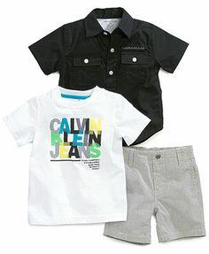 Calvin Klein Baby Boys' 3-Piece Woven Shirt, Tee & Shorts Set