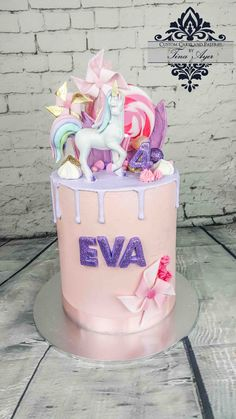 Drip cake Unicorn pink and purple pastel cake with glitter by Tina Ayer Melbourne www.cutomcakesandpastriesbytinaayer.com.au