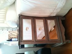 Mirrored Nightstand DIY    - bought a cheap plain nightstand at SEWA   - had mirrors cut to fit the side panels and the drawers at a glass store  - attached the mirrors with adhesive  - put on some pretty knobs from ebay    Ta Dah!