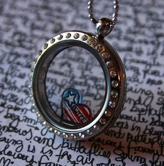American Wife Floating Charm, Army, Marine, Navy, Air Force, Ranger, Military Police - Heart Stars and Stripes Flag Charm for South Hill and Origami Owl Lockets by RepliKitty, $6.00