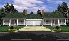 Elevation of Bungalow Country   #Farmhouse  Ranch   #MultiFamily Plan 59046 has 1200 total square feet. Each unit has one bedroom and one bath with a 12' x 7'4 bonus room. Each unit also has a one car garage and covered back porches which are not included in the total living space.