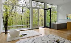 windows. Modern Living Room by River Architects