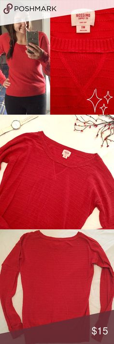 Cute 🌱 Thin Red Sweater Super cozy and has a nice fit. Light not heavy or itchy material. Perfect for a fall day! 🍁 Runs smallish. Mossimo Supply Co. Tops Tees - Long Sleeve