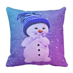 Cute Snowman Pillow   throw pillow purple blue - spring gifts beautiful diy spring time new year
