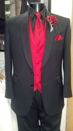 800SX Striped Tuxedo with Ferrari Red accessories from Jim's Formalwear, available at www.thebridesshoppe.net