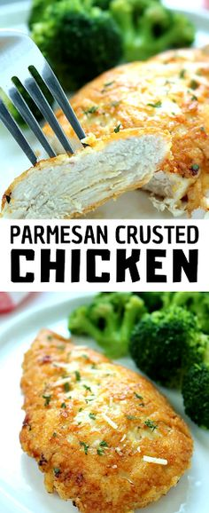 This Parmesan Crusted Chicken is an easy meal idea. We use pounded thin chicken breasts, coat in a delicious Parmesan coating, and then fried to make them crispy. - The ingredients and how to make it please visit the website Recipes Using Cooked Chicken, Easy Chicken Dinner Recipes, Canned Chicken, Broccoli Recipes, Rice Recipes, Pasta Recipes, Crockpot Recipes, Fast Dinner Recipes, Parmesan Crusted Chicken