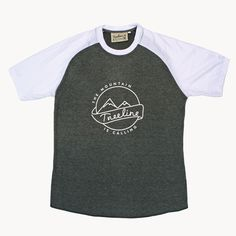 Mountain is Calling Tri-Blend T-Shirt - White & Charcoal Grey Heather – Treeline Outdoors