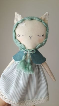 Made to order Miss Kitty Handmade cat dollfabric cat doll