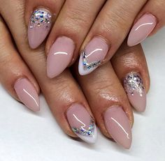 French pastel glam nails