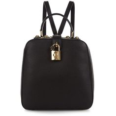 Dolce & Gabbana Rosaria leather box backpack (3.950 BRL) ❤ liked on Polyvore featuring bags, backpacks, black, leather backpack, leather backpack bag, genuine leather backpack, backpack bags and leather bags