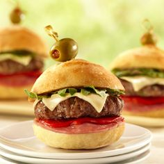 Antipasto Burger Sliders: These little burgers taste – and look – stunning for a party.