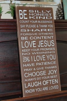 FAMILY RULES Subway Style Distressed Wooden Sign 11.25 x 24 via Etsy