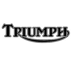 classic triumph logo note over sized font on stark black