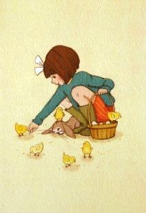 vintage spring drawing