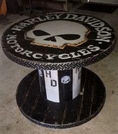 Wooden Spool Harley Davidson Table Garage Shop 4171a7c48