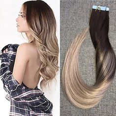 (34.95$)  Buy here  - Full Shine Glue in Human Hair Extensions Balayage Ombre Color #4 Fading to #18 Ash Blonde Skin Weft 50g 20 Pcs Per Package