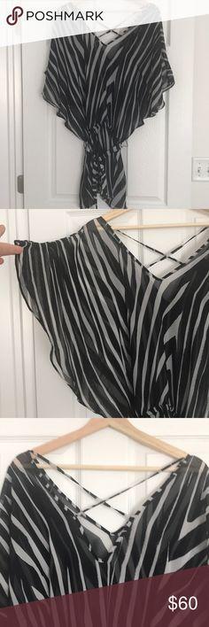 72baab135e White House black market swim suit cover Zebra print sheet bathing suit  slip cover with a