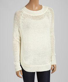 Love this Cream Sheer Rib-Trim Sweater - Women by Honey Punch on #zulily! #zulilyfinds